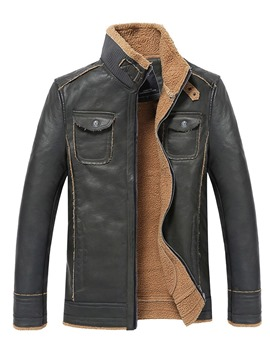 Ericdress Plain Stand Collar Pocket Mens PU Leather Winter Jacket