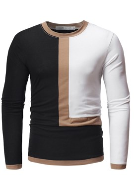 Ericdress Patchwork Color Block Slim Scoop Mens Casual T Shirts