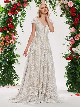 Ericdress A Line Lace Color Wedding Dress