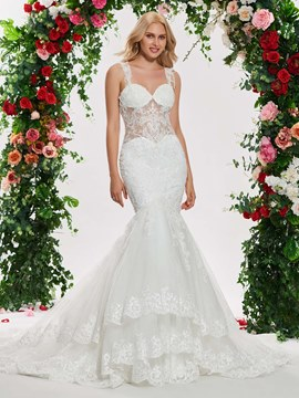 Ericdress Straps Mermaid Appliques Wedding Dress