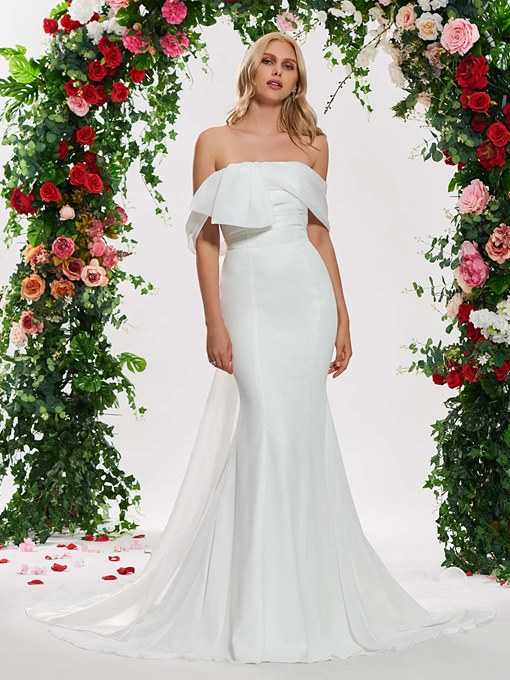 Ericdress Off the Shoulder Mermaid Watteau Train Wedding Dress