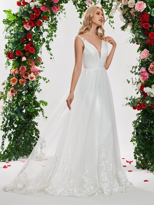 Ericdress Beading Straps Appliques Lace-Up Wedding Dress