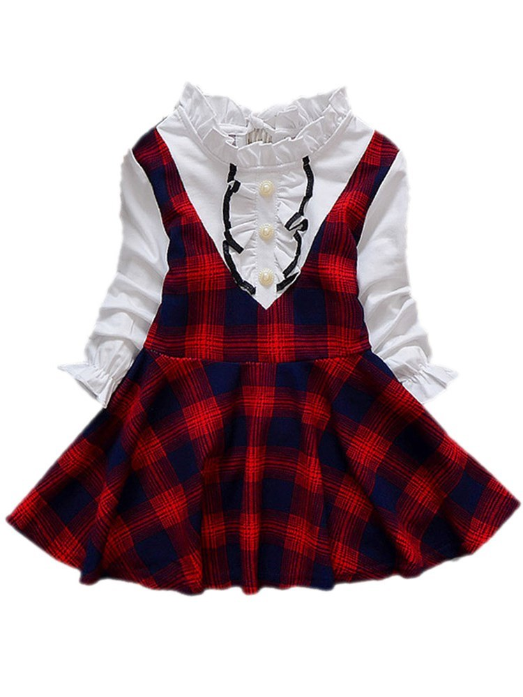 Ericdress Plaid Pleated Double-Layer A-Line Girl's Casual Dress