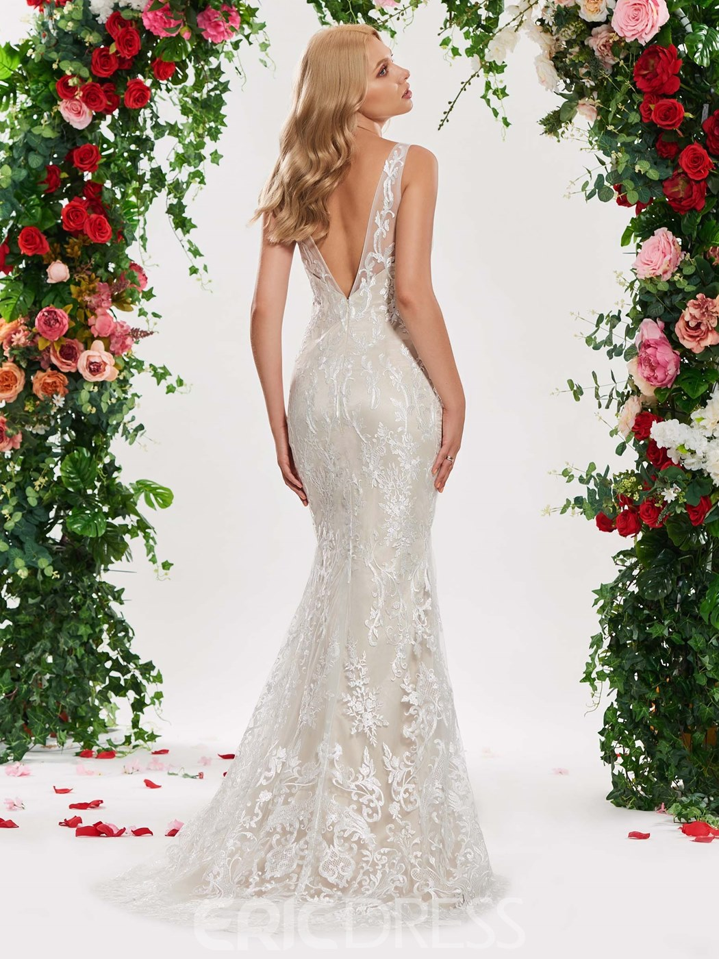Ericdress Backless Mermaid Lace Color Wedding Dress