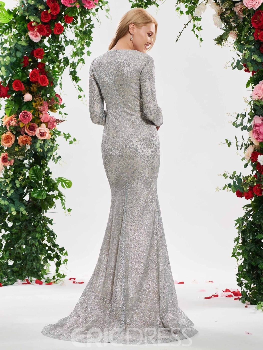 Ericdress Mermaid Sequins Long Sleeves Silver Wedding Dress