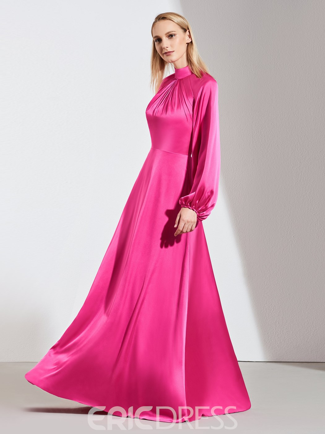 Ericdress A Line Mock Neck Long Sleeve Evening Dress