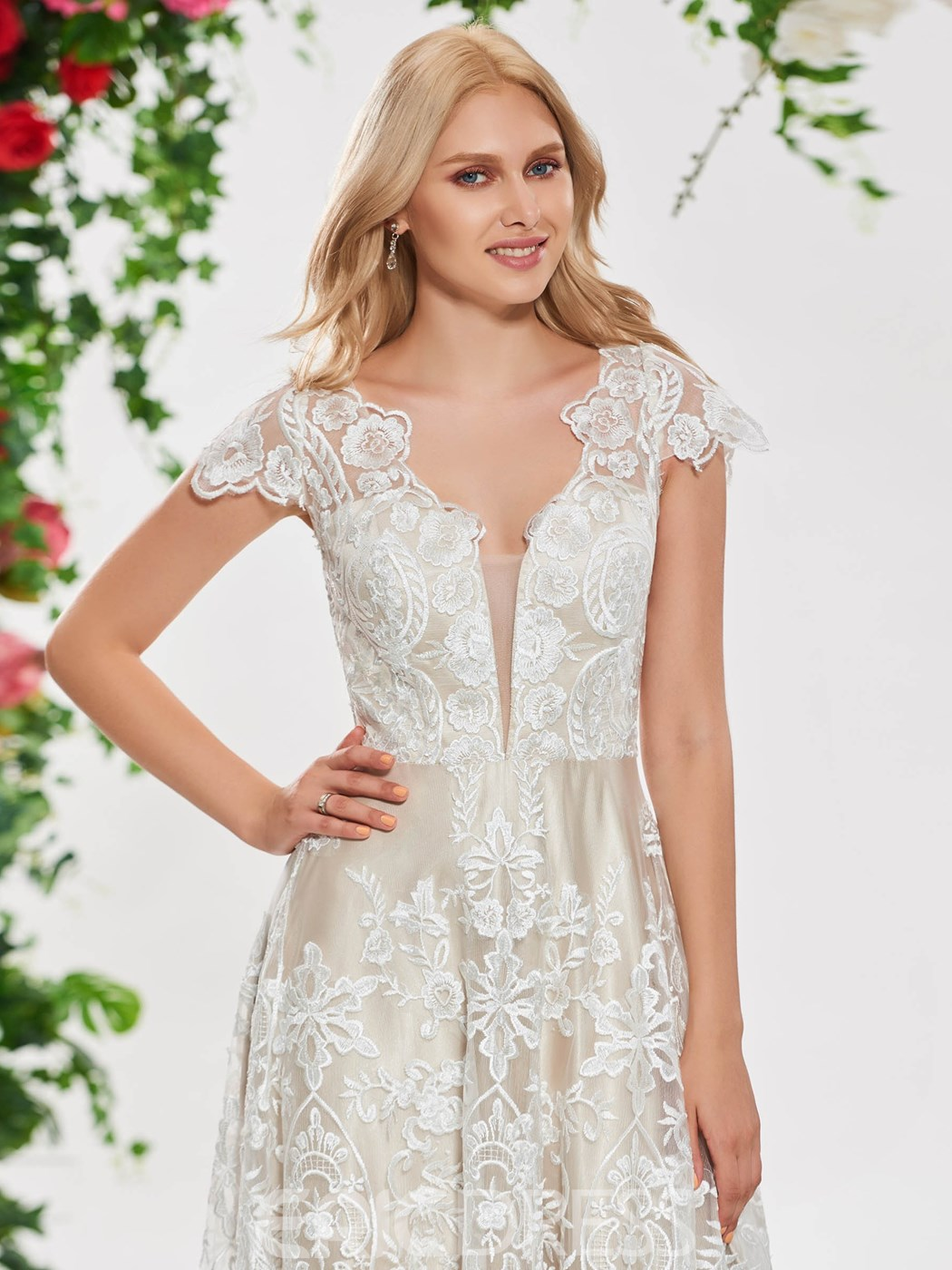 Ericdress A Line Cap Sleeve Lace Wedding Dress