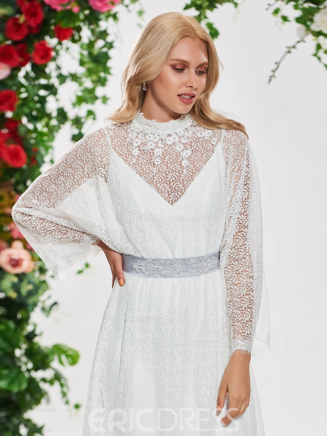 Ericdress A Line Lace Long Sleeves Wedding Dress