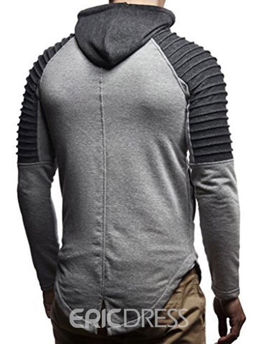 Ericdress Patchwork Hooded Pleated Zipper Mens Casual Hoodies