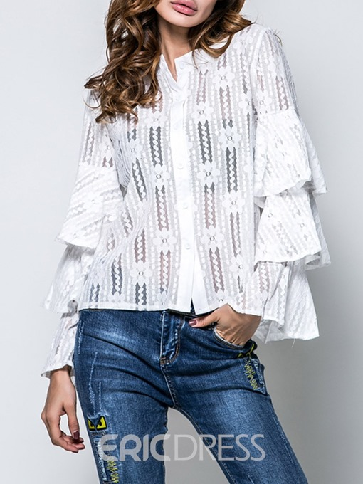 Ericdress Lace Scoop Ruffle Sleeve Long Sleeve Blouse
