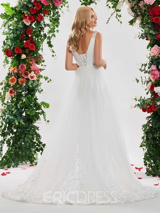 Ericdress A Line Backless Tulle Beaded Wedding Dress