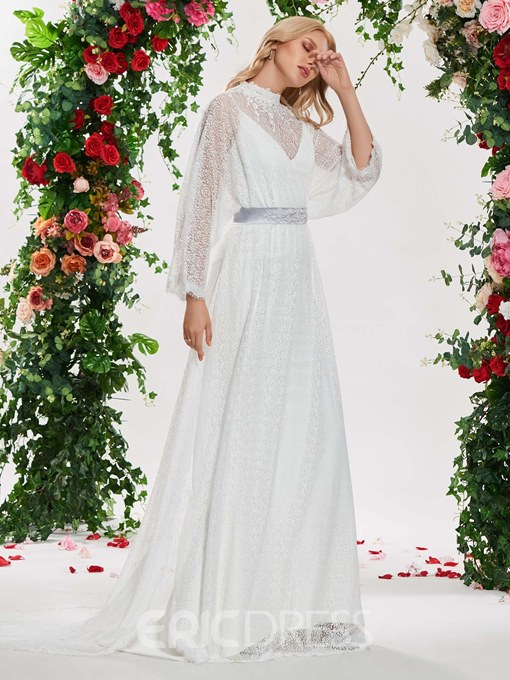 Ericdress Lace Long Sleeves Vintage Wedding Dress