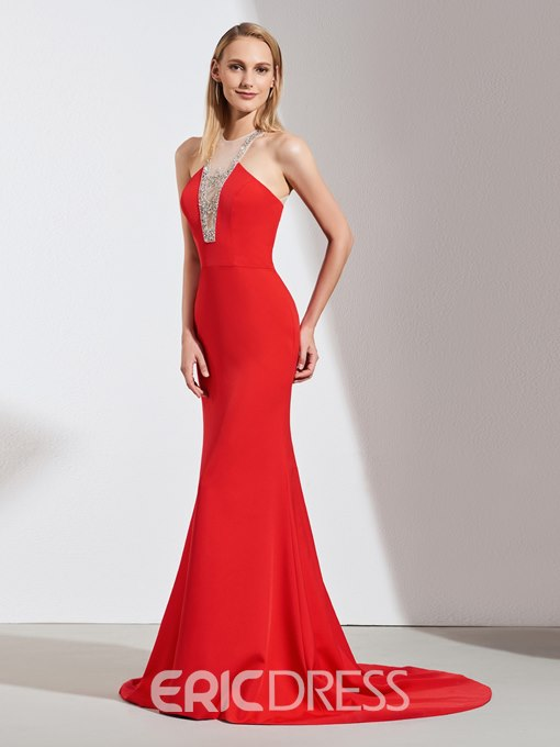 Ericdress Halter Mermaid Evening Dress With Beadings
