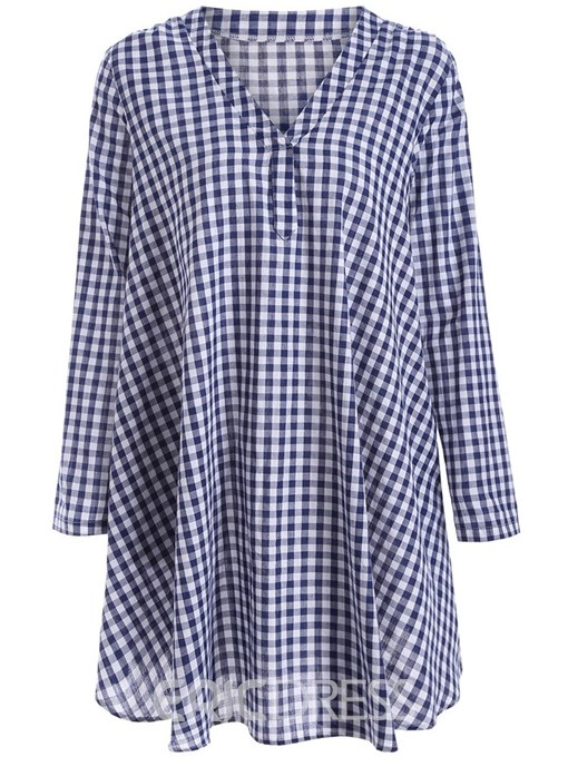 Ericdress Loose Gingham Mid-Length Long Sleeve Blouse