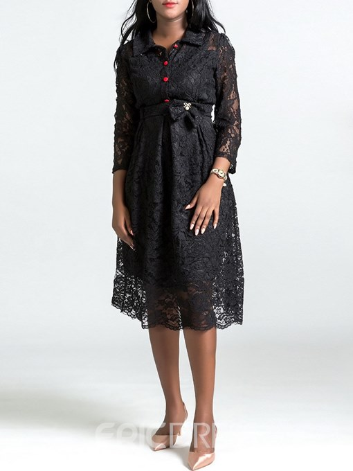Ericdress A-Line Lace Single-Breasted Women's Dress