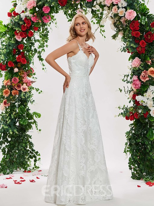 Ericdress A Line Sequins Lace Garden Wedding Dress