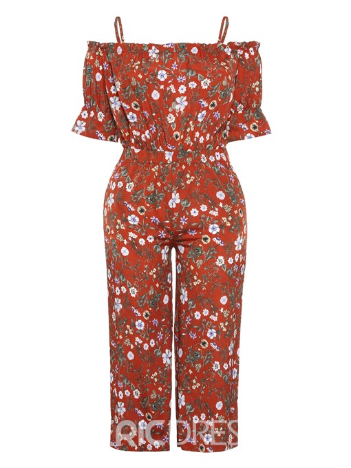 Ericdress Plus Size Bohemian Floral Print Wide Legs High Waist Jumpsuit
