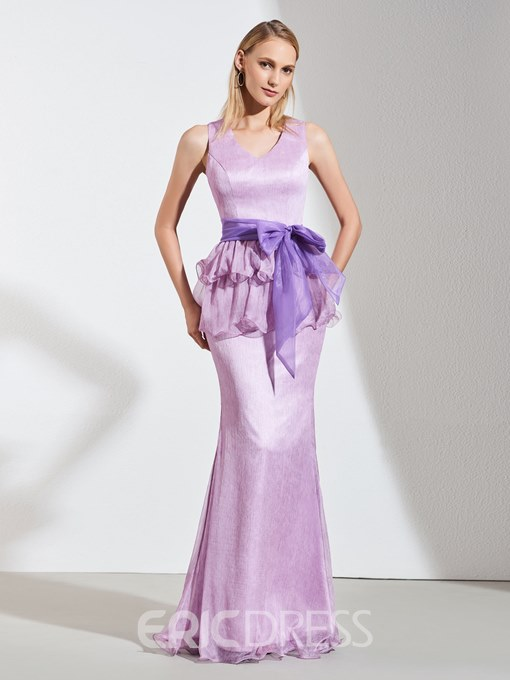 Ericdress Sheath V Neck Evening Dress With Bowknot