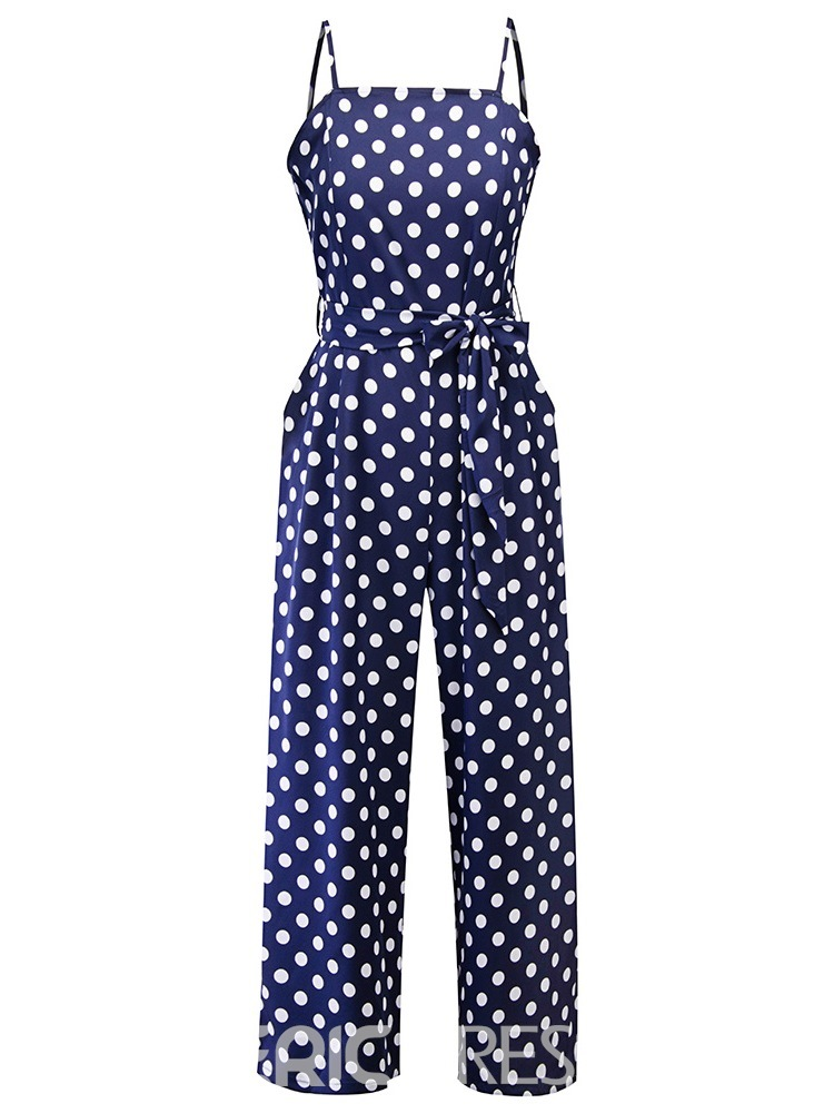 Ericdress Polka Dots Belt Strap Wide-Leg Slim Jumpsuit
