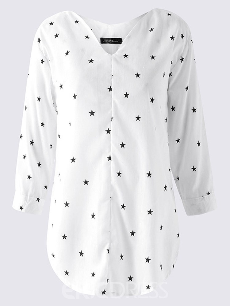 Ericdress Loose Star Print V-Neck Long Sleeve Blouse