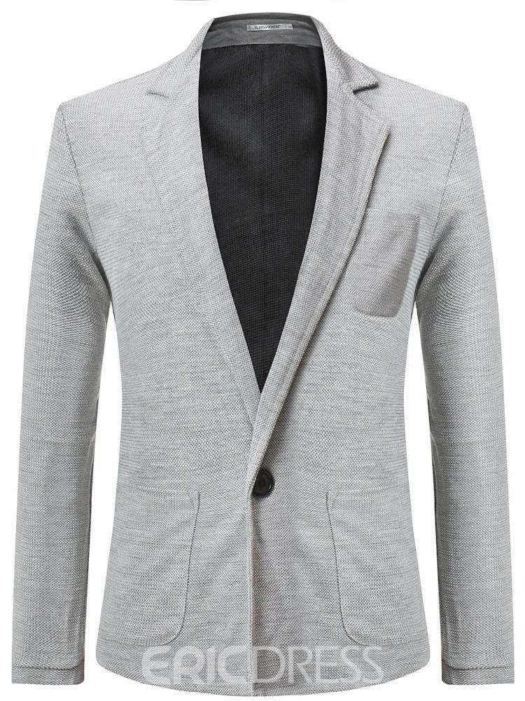 Ericdress Plain One Button Pocket Notched Lapel Mens Casual Sweaters