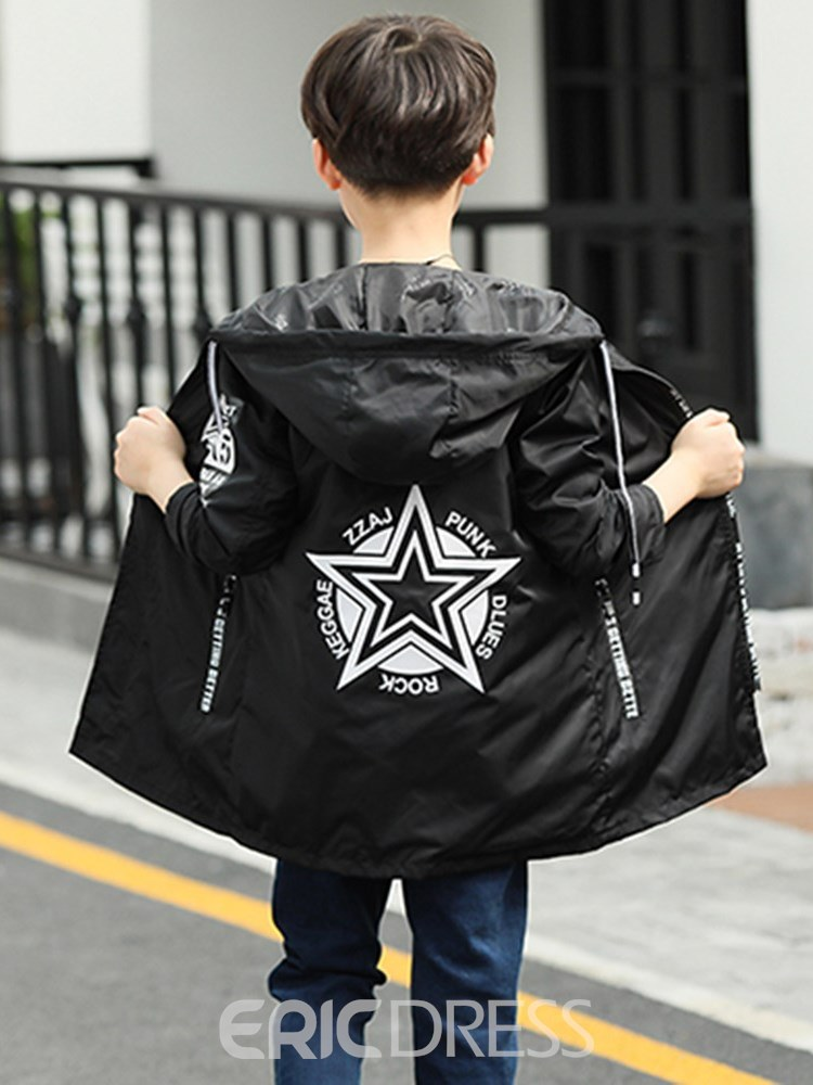 Ericdress Print Lace Up Hooded Zipper Boy's Casual Outerwears