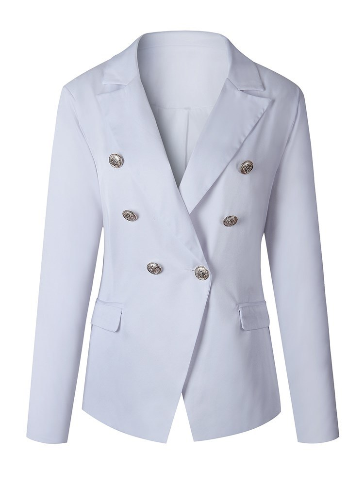 Ericdress Button Double-Breasted Plain Blazer