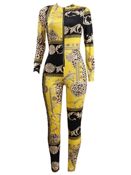 Ericdress Print Zipper Women's Jumpsuit