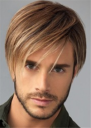 Natural Straight Synthetic Hair Mens Capless Wig ericdress