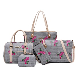 Ericdress Plaid Floral Strip Bag Set