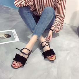 Ericdress Ruffles Strappy Lace-Up Flat Sandals