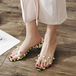 Ericdress Rivet Slip-On Spool Heel PVC Sandals