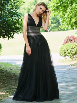 Ericdress A Line V Neck Beaded Black Evening Dress