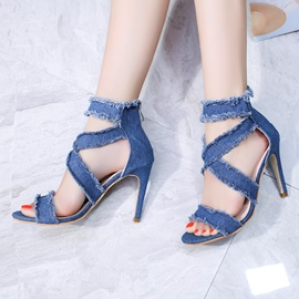 Ericdress Denim Worn Mid-Cut Stiletto Sandals