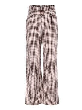 Ericdress Plaid Ankle Length Lace-Up Women's Pants