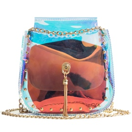 Ericdress Rivets Adornment PVC Chain Jelly Crossbody Bag