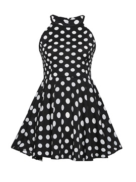 Ericdress Polka Dots Peplum Sleeveless Womens Top