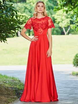 Ericdress A Line Short Sleeve Red Long Prom Dress