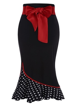 Ericdress Mermaid Mid-Calf Polka Dots Patchwork Women's Skirt