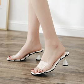 Ericdress Polka Dot Slip-On Shaped Heel PVC Sandals
