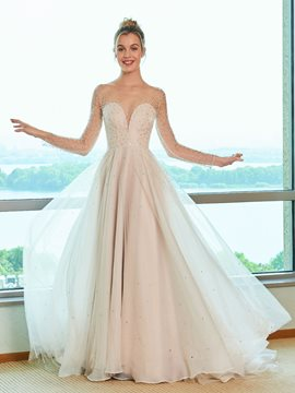 Ericdress Illusion Neckline Beading Long Sleeves Wedding Dress
