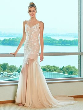 Ericdress 3D Floral Mermaid Lace Wedding Dress