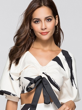 Ericdress Tie Front Cuffed Puff Sleeve Womens Top
