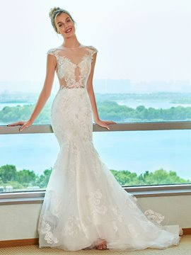 Ericdress Button Appliques Mermaid Wedding Dress 2019