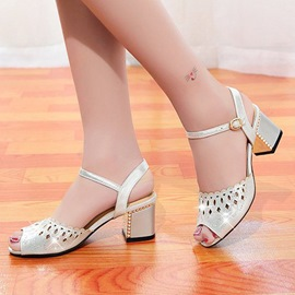 Ericdress Hollow Diamond Peep Toe Chunky Sandals