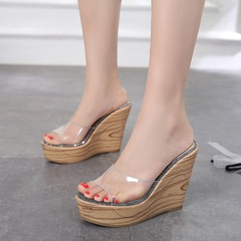 Ericdress Platform Slip-On Wedge Heel PVC Sandals
