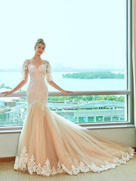 Ericdress Mermaid Appliques Color Wedding Dress