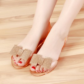 Ericdress Bowknot Sequin See-Through PVC Sandals