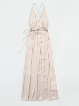 Ericdress V-Neck Satin Face Backless Lace-Up Casual Dress