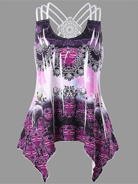 Ericdress Print Floral Tunic Womens Vest